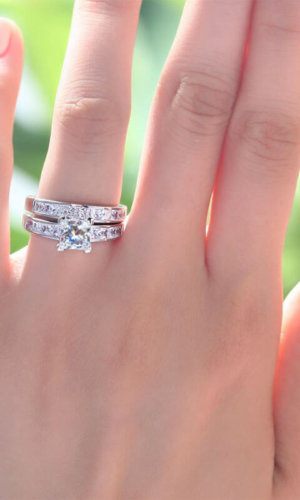 Square Diamond Ring Set