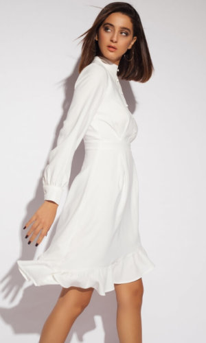 Asymetric Long Sleeve Crepe Dress