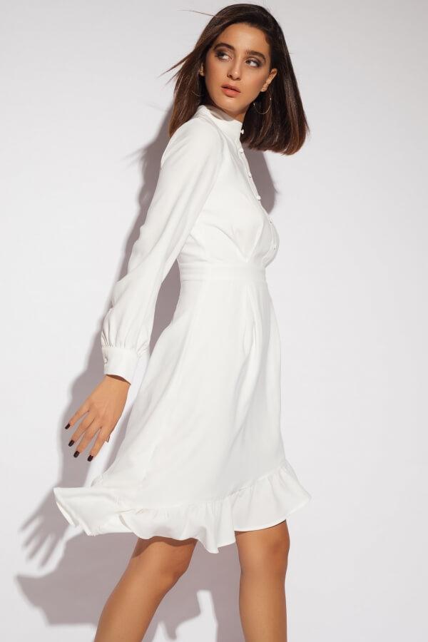 Asymetric Long Sleeve Crepe Dress