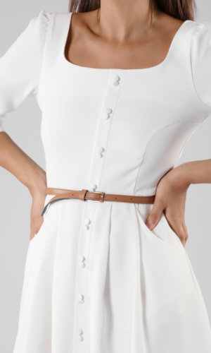 Belted Crepe De Chine Dress