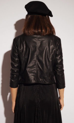 Vegan Leather Studded Biker Jacket