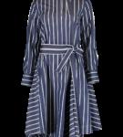 Long sleeve belted stripe dress