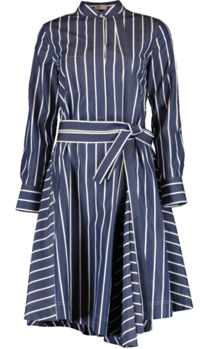 Long sleeve belted stripe dress