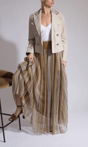Stripe Chiffon Drawstring Maxi Skirt