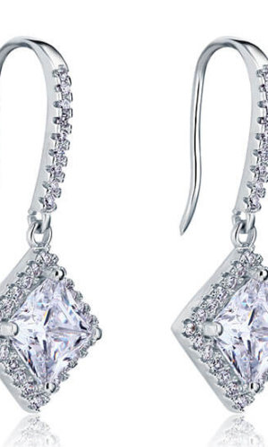 3 Carat Diamond 925 Sterling Silver Earring.