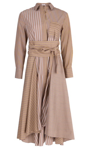 Hi Low Belted Stripe Shirt Dress