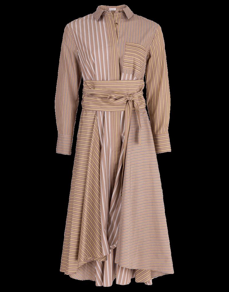 Hi Low Belted Stripe Shirt Dress