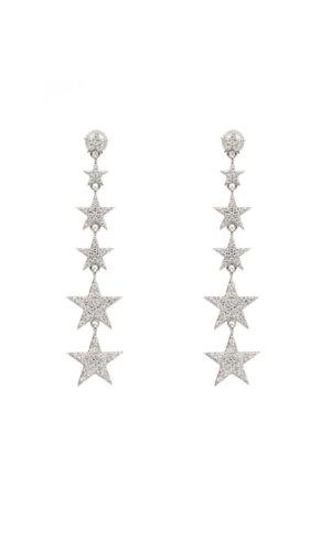 Dainty Star Silver Drop Earrings-Long