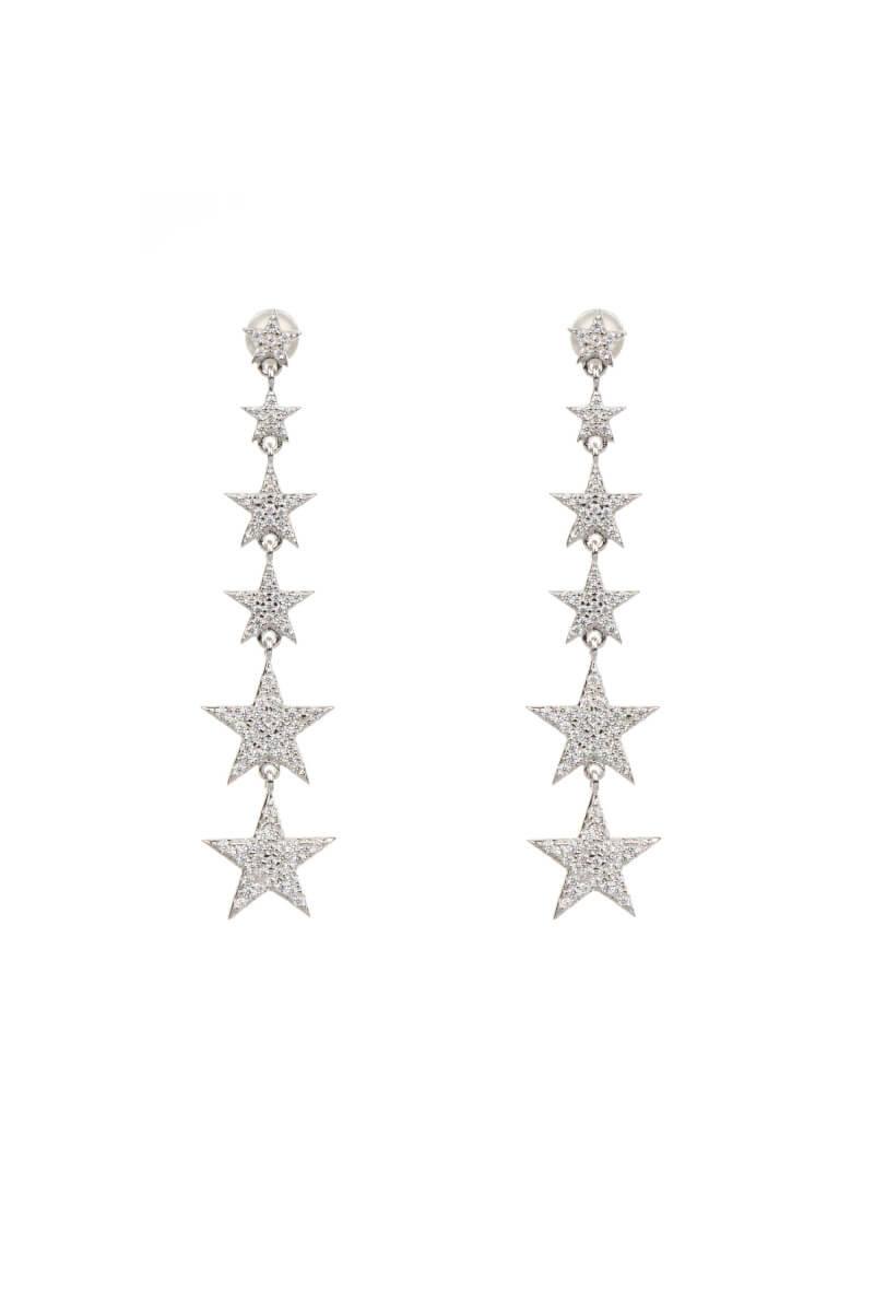 Dainty Star Silver Drop Earrings-Long