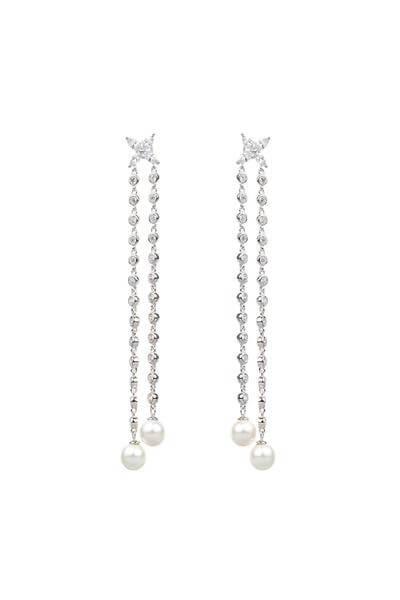 Dual Chain Shell Pearl Silver Drop Earrings