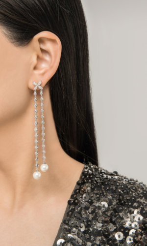 Dual Chain Shell Pearl Silver Drop Earrings