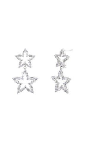 Duo Star Silver Drop Earrings.