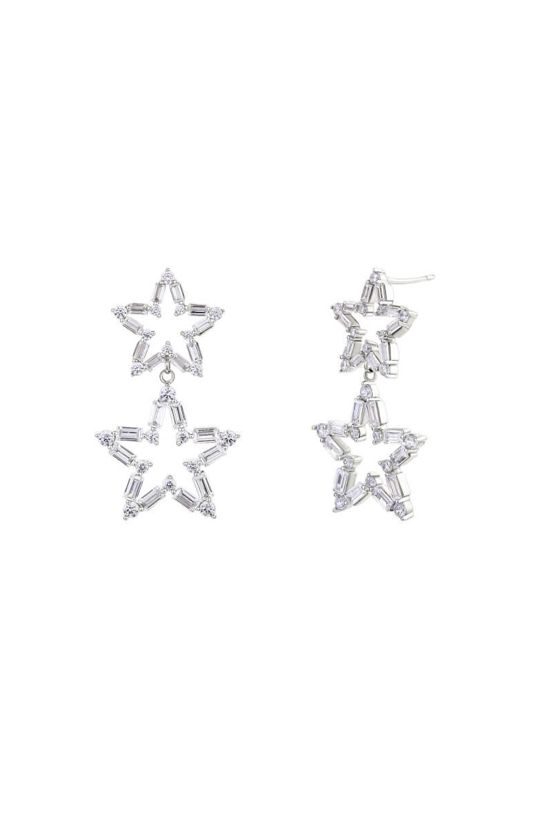 Duo Star Silver Drop Earrings.