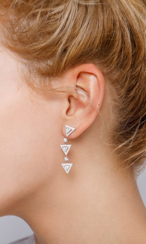 3 Mini Triangles Silver Drop Earrings