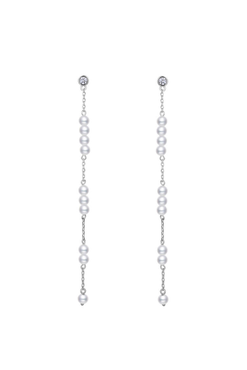 925 Sterling Silver Pearl Drop Stream Earrings