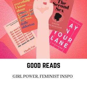Feminism book reads banner