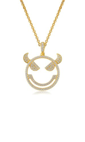 EMOJI EVIL MONSTER SILVER NECKLACE