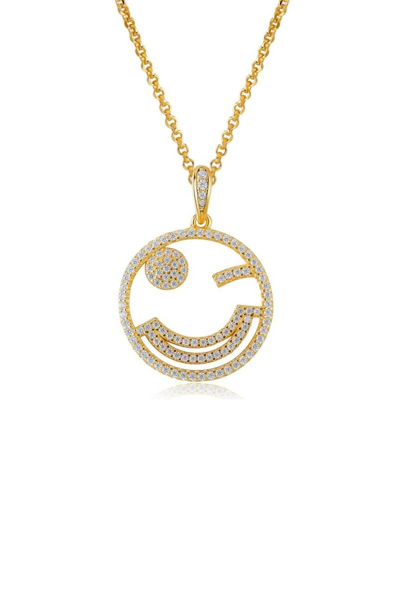 Emoji Adorable Wink Silver Necklace