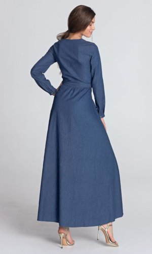 Long Blue Shirt Maxi Dress