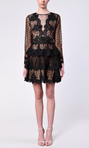 True Decadence Black Spotty Tulle Plunge Front Tiered Mini Dress