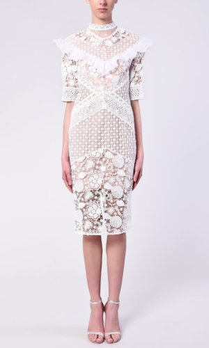 True Decadence White Crochet Midi Dress