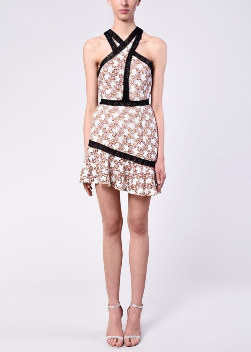 True Decadence Lilac White Daisy Lace Panelled Mini Dress.