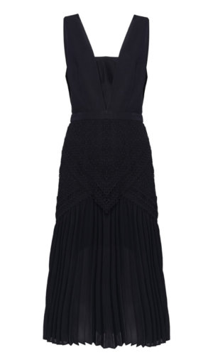 True Decadence Black Plunge Front Lace Detail Pleated Midi Dress. Ideal Occasions – Cocktail, Evening, Prom, Race Day, Graduation, Party, Summer, Holiday, Work Party