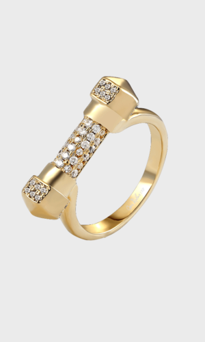 Gold Pave Cuff Ring