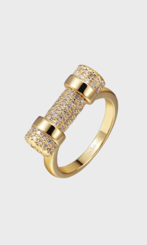 Pave Gold D Ring