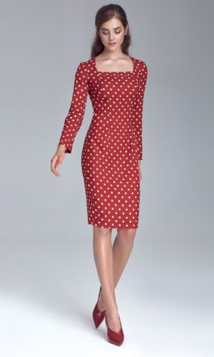 Polka Dot Midi Dress-Red
