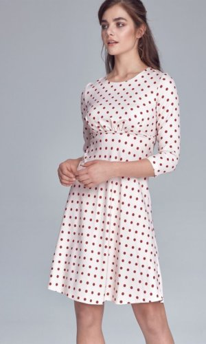 Polka Dot Day Dress-Beige