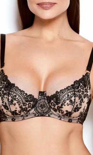 Abrielle Black Embroidered Bra