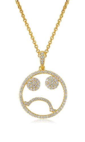 EMOJI SAD FACE SILVER NECKLACE
