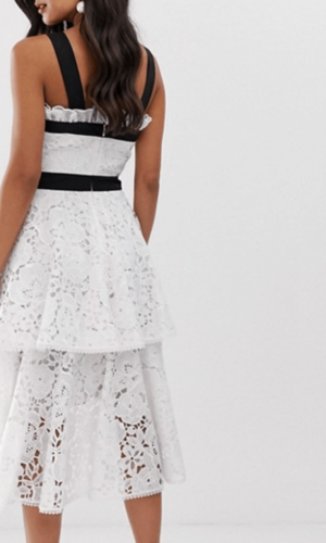 True Decadence White Black Midi Dress