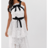 True Decadence White Black Midi Dress