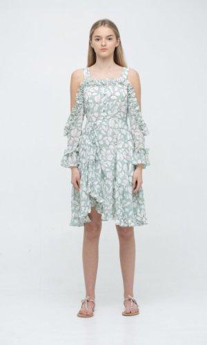 Cutout Plisse Midi Dress