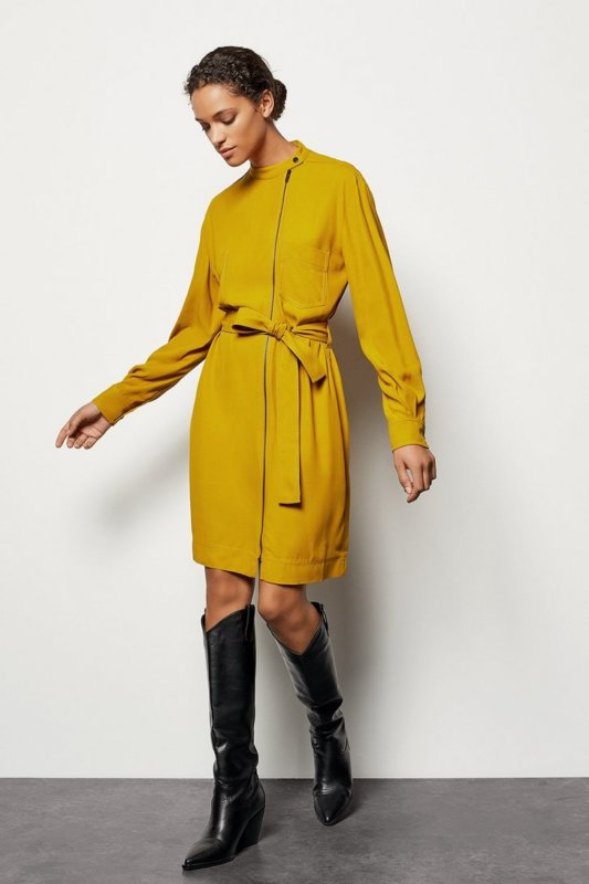 Mustard zip dress