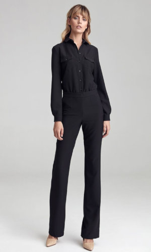 Black Jumpsuit tailored with long sleeves