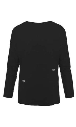 Eyes Embroidered Dropped Shoulder T-Shirt Black