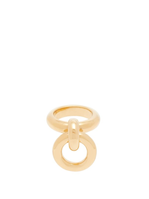 Hoop-charm gold-plated sterling silver ring