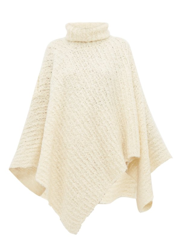 Roll-neck wool-blend poncho
