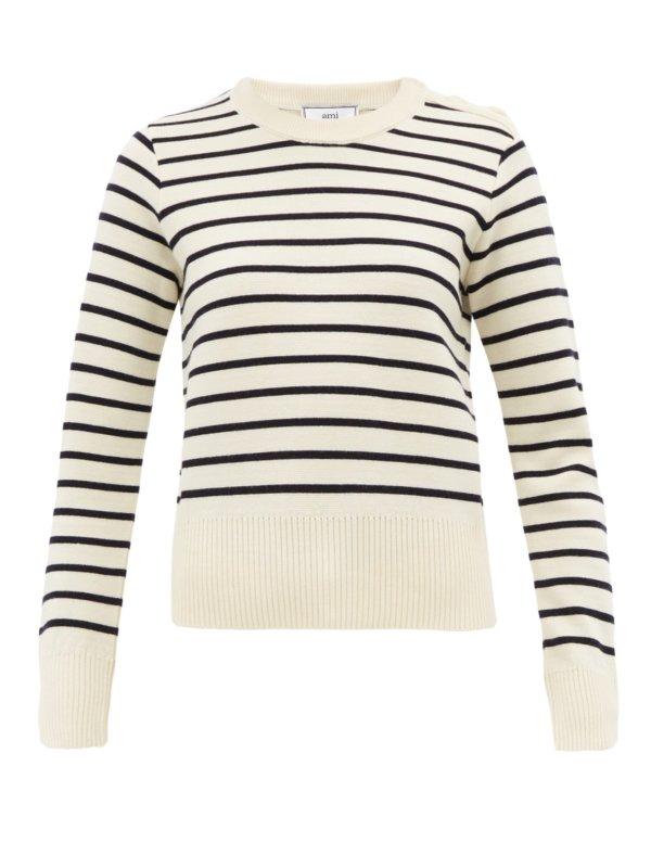 Breton-stripe wool sweater