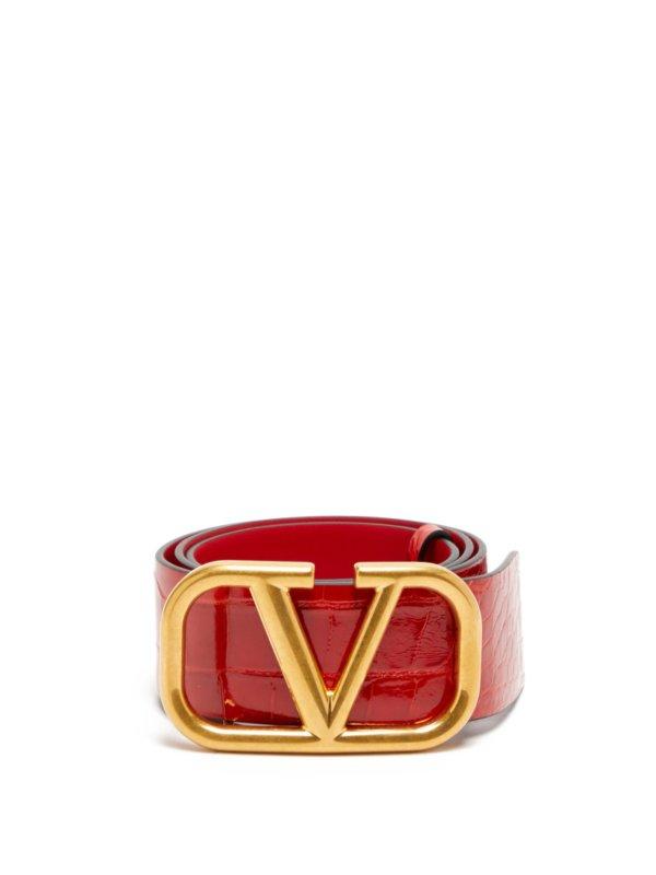 V-logo alligator belt