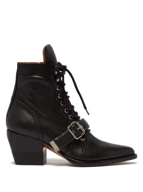 Chloé - Rylee Grained Leather Ankle Boots