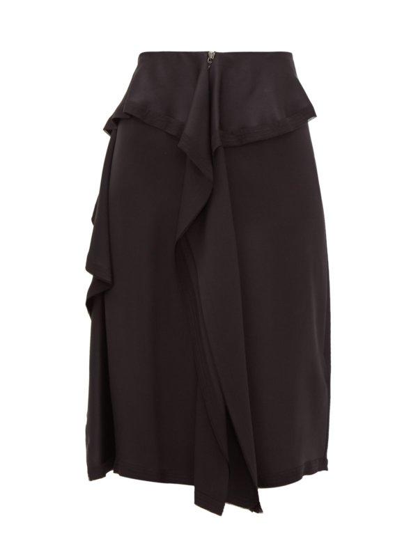 Raw-hem ruffled silk-satin skirt