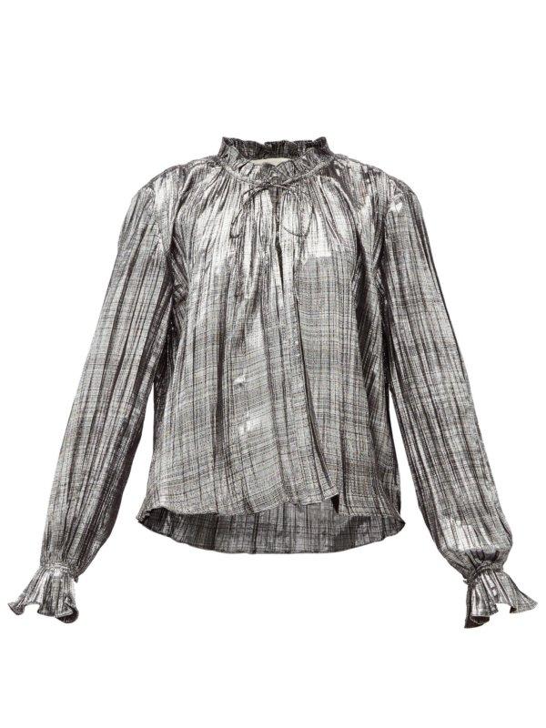 Ruffled high-neck plissé-lamé blouse