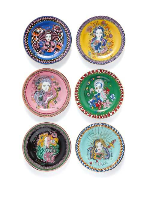 La Doublej - Set Of 6 Goddess Porcelain Dessert Plates