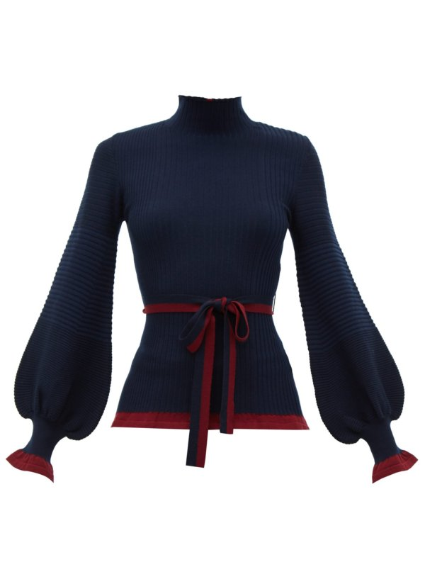 Auric belted bell-sleeve rib-knitted wool sweater
