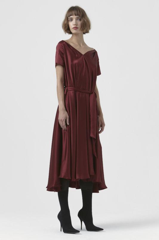 Isadora Burgundy Silk Dress