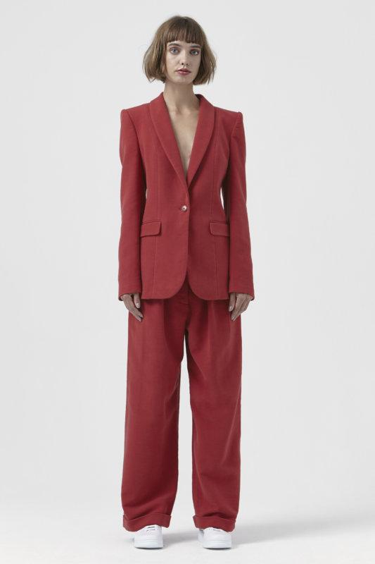 e Sofia Red Organic Cotton Blazer